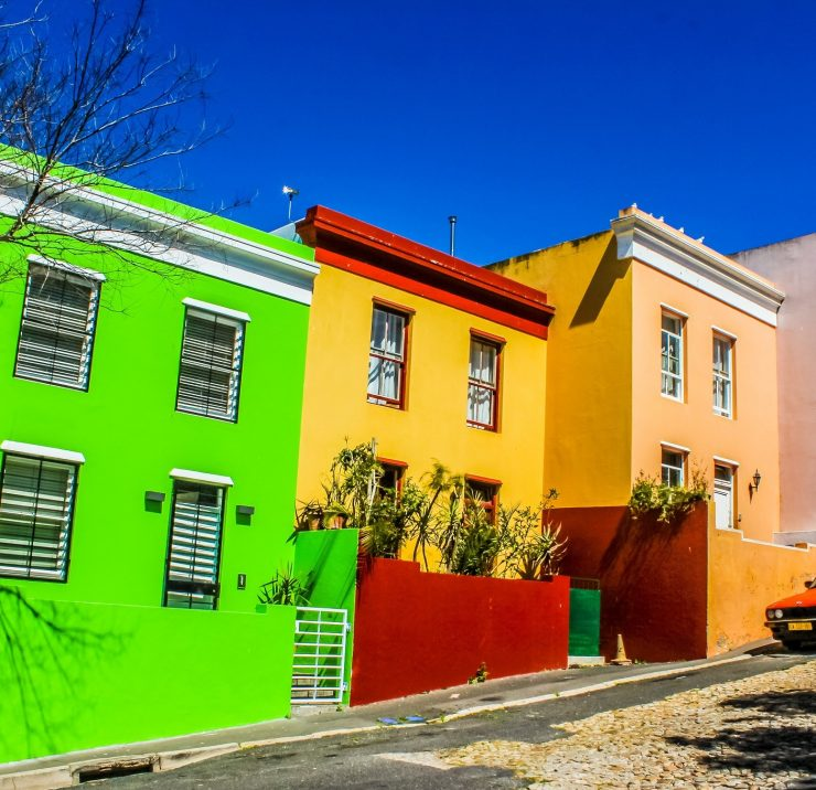 Colorful streets of Bo-Kaap a cape malay colony in Cape Town South Africa in western cape