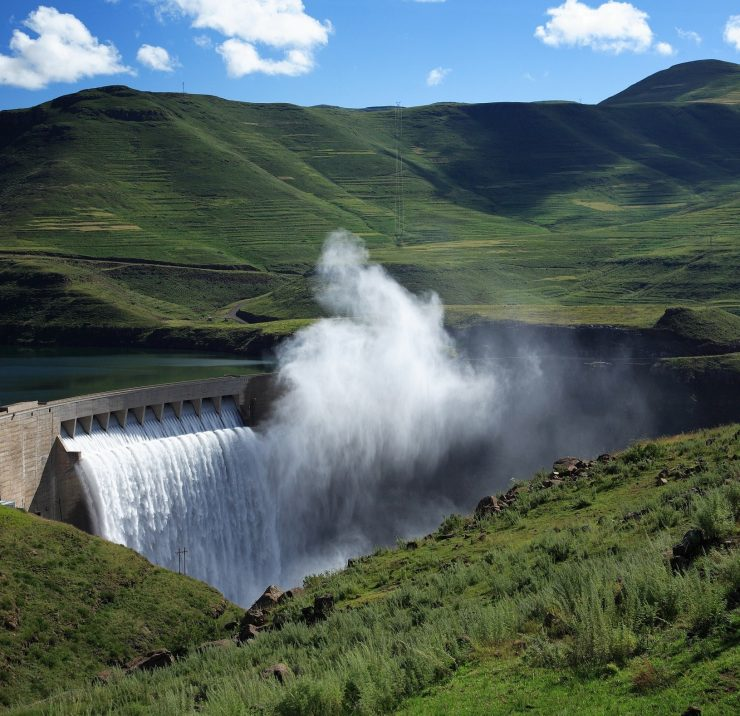 Mist rising above the Katse dam wall in Lesotho