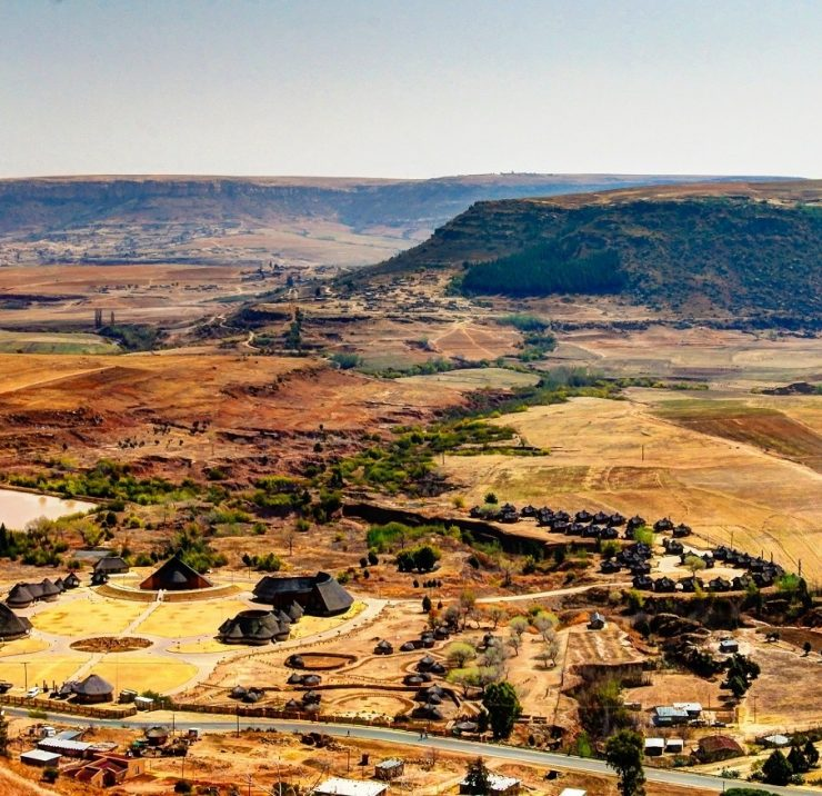 Aerial view to Thaba Bosiu Cultural Village near Maseru in Lesotho